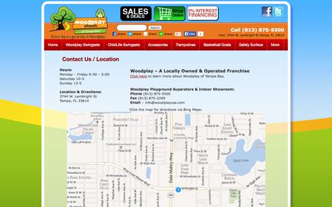 Screenshot of Contact Page Hours Page woodplayusa.com - Contact Us / Location | Woodplay Playsets of Tampa Bay - captured Oct. 26, 2014