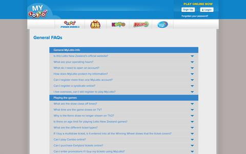 Screenshot of FAQ Page mylotto.co.nz - FAQs | Lotto NZ » MyLotto - captured Sept. 19, 2014