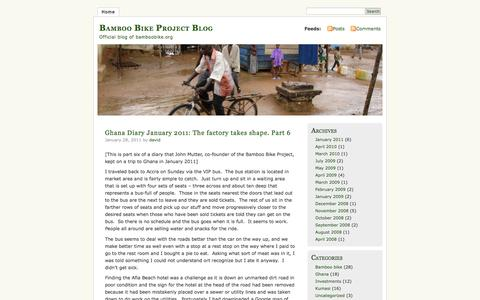 Screenshot of Blog wordpress.com - Bamboo Bike Project Blog | Official blog of bamboobike.org - captured May 20, 2016