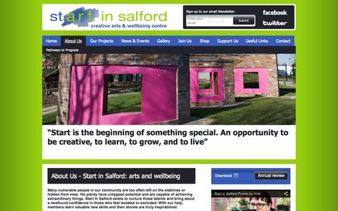 Screenshot of About Page startinsalford.org.uk - About Us | Start in Salford creative arts & wellbeing centre - captured Sept. 30, 2014