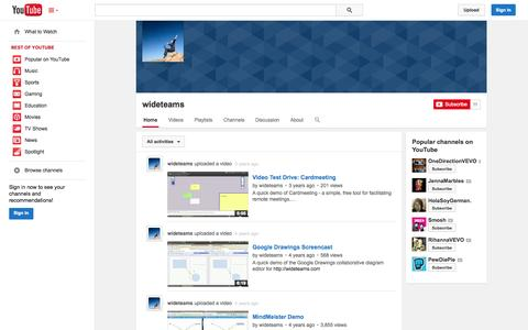 Screenshot of YouTube Page youtube.com - wideteams  - YouTube - captured Oct. 26, 2014