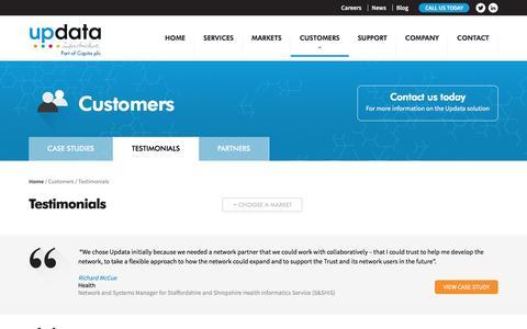Screenshot of Testimonials Page updata.net - Updata's Customer Testimonials | Updata - captured Dec. 6, 2016