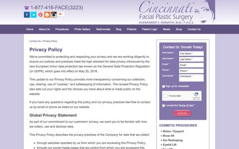 Screenshot of Privacy Page cincyfacialplastics.com - Privacy Policy - captured Sept. 28, 2018