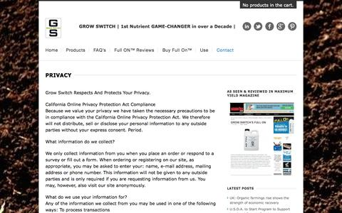 Screenshot of Privacy Page growswitch.com - Grow Switch Privacy Statement - captured Oct. 3, 2014