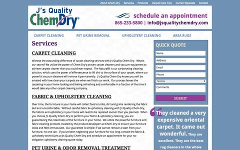 Screenshot of Services Page jsqualitychemdry.com - Services   Carpet Cleaning   Upholstery & Rug Cleaners   Odor Removal - captured Sept. 30, 2014