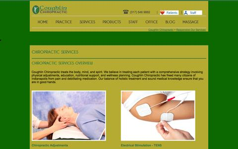 Screenshot of Services Page coughlinchiropractic.com - Responsive Our Services - captured Sept. 30, 2014