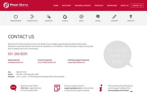 Screenshot of Contact Page propdata.net - Contact Us | Prop Data Internet Marketing - captured July 23, 2018