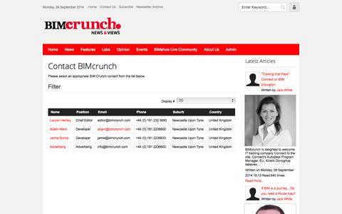 Screenshot of Contact Page bimcrunch.com - Contact Us - captured Sept. 30, 2014