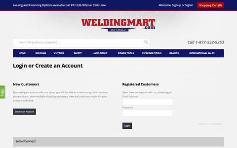 Screenshot of Login Page weldingmart.com - Customer Login | WeldingMart.com - captured Dec. 3, 2016