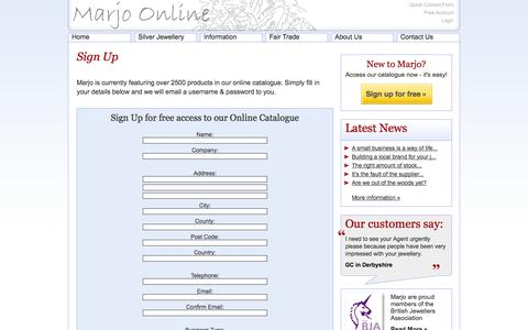 Screenshot of Signup Page marjosilver.co.uk - Sign Up For Your Free Account - Marjo Distribution - captured Oct. 3, 2014