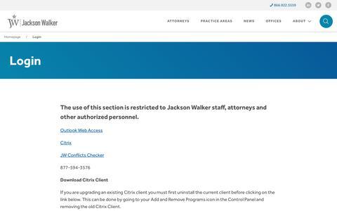 Screenshot of Login Page jw.com - Login - Jackson Walker - captured July 7, 2017