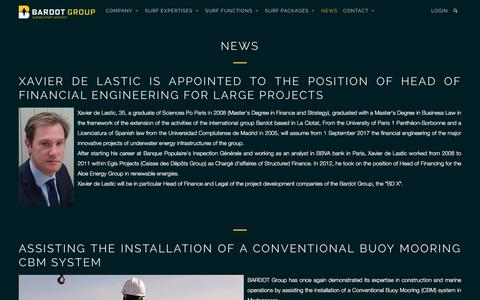Screenshot of Press Page bardotgroup.com - News Xavier de Lastic Head of Financial Engineering for Large Projects - BARDOT GROUP - captured Sept. 29, 2017