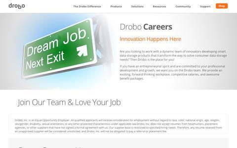 Screenshot of Jobs Page drobo.com - Drobo Careers - Drobo Inc. - captured Nov. 3, 2018