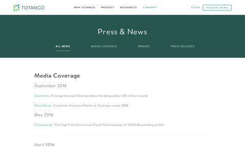 Screenshot of totango.com - Press & News | Totango | Customer Success Software - captured Dec. 9, 2016