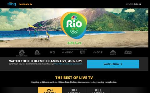 Screenshot of Home Page sling.com - Sling TV - Watch Live TV Programming Any Time and Anywhere - captured Aug. 10, 2016
