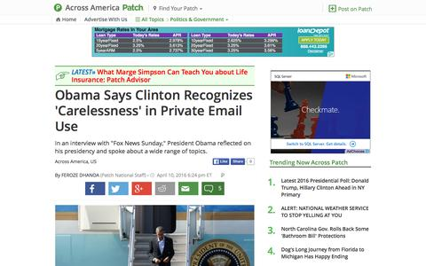 Screenshot of patch.com - Obama Says Clinton Recognizes 'Carelessness' in Private... - captured April 13, 2016