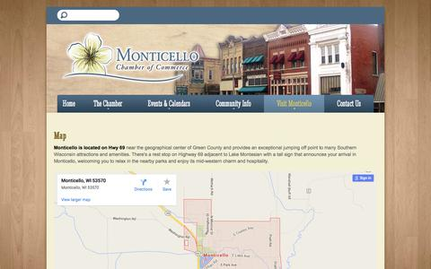 Screenshot of Maps & Directions Page monticello-wi.com - Monticello Chamber of Commerce - captured March 10, 2016