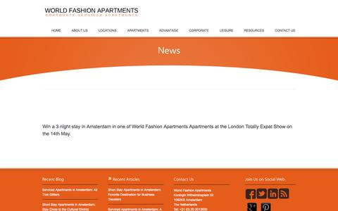 Screenshot of Press Page worldfashionapartments.com - News ‹ Short Stay in Amsterdam, Cheap Serviced Apartments Amsterdam | WFA - captured Oct. 26, 2014