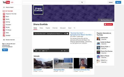 Screenshot of YouTube Page youtube.com - Dhana EcoKids  - YouTube - captured Oct. 23, 2014
