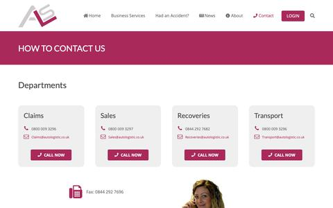Screenshot of Contact Page autologistic.co.uk - Contact - Auto Logistic Solutions - Accident Management - captured Oct. 4, 2018