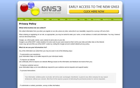 Screenshot of Privacy Page gns3.net - Privacy Policy - GNS3 - captured July 18, 2014