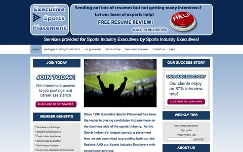 Screenshot of Home Page prosportsjobs.com - Executive Sports Placement»Job Seeker SiteExecutive Sports Placement - - captured Oct. 3, 2014
