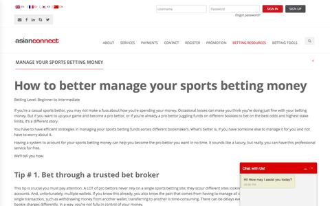 Screenshot of asianconnect88.com - How to better manage your sports betting money | Asianconnect - captured April 22, 2017