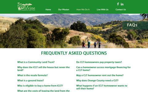 Screenshot of FAQ Page irvineclt.com - FAQs | Irvine Community Land Trust - captured Dec. 19, 2018