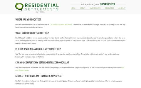 Screenshot of FAQ Page residentialsettlements.com.au - Frequently Asked Questions | Residential Settlements - captured Aug. 16, 2016