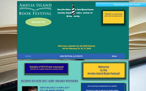 Screenshot of Home Page ameliaislandbookfestival.org - 2018 amelia island book festival - captured Jan. 29, 2018