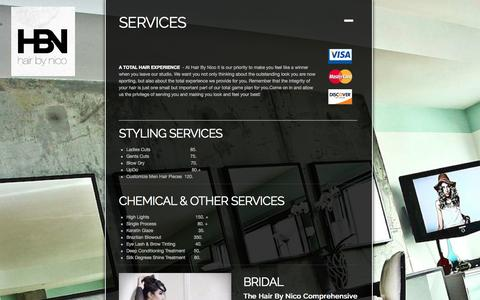 Screenshot of Services Page hairbynico.com - SERVICES ‹ Hair By Nico – Professional Hair Styling Serving Los Angeles and Hollywood - captured Sept. 27, 2014