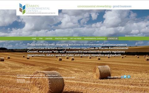 Screenshot of Home Page warrenenvcounsel.com - Warren Environmental Counsel - captured Jan. 26, 2015