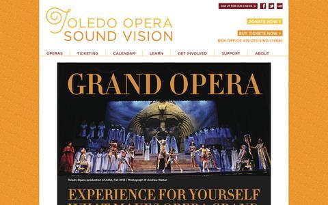 Screenshot of Support Page toledoopera.org - Toledo Opera Toledo Opera - captured Oct. 7, 2014