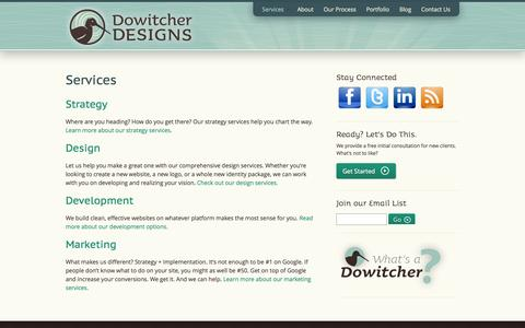 Screenshot of Services Page dowitcherdesigns.com - Web & Print Communications Services, Santa Barbara | Dowitcher Designs - captured Sept. 30, 2014