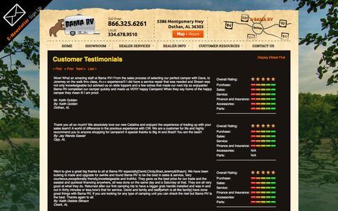 Screenshot of Testimonials Page bamarv.com - Testimonials | Bama RV | Dothan Alabama - captured July 28, 2016