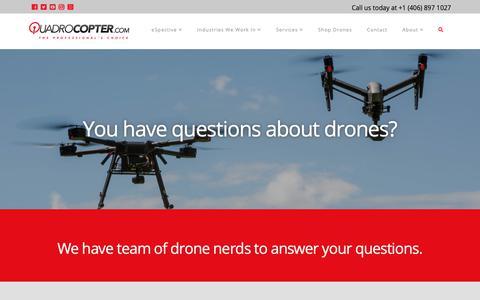 Screenshot of FAQ Page quadrocopter.com - FAQs Questions About Drones - Quadrocopter - captured Dec. 14, 2018