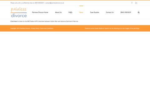 Screenshot of Press Page painlessdivorce.co.uk - Painless Divorce News - captured Jan. 30, 2016