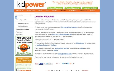 Screenshot of Contact Page kidpower.org - Contact Us | Kidpower Teenpower Fullpower International - captured Sept. 24, 2014