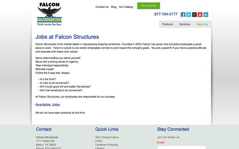 Screenshot of Jobs Page falconstructures.com - Repurposed Shipping Container Structures Jobs & Careers at Falcon Structures - captured Jan. 9, 2018