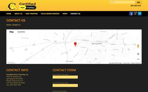 Screenshot of Contact Page heattreating.com - Contact Us - Certified Heat Treating Inc.Certified Heat Treating Inc. - captured Nov. 10, 2018