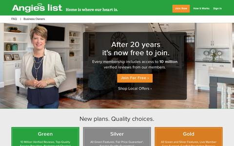 Screenshot of Home Page angieslist.com - Angie's List | Join for FREE to see 10 Million Verified Reviews - captured Dec. 21, 2016