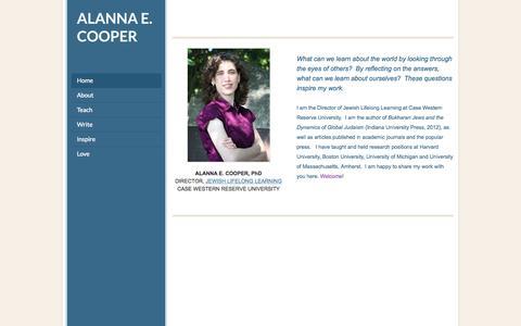 Screenshot of Home Page kikayon.com - ALANNA E. COOPER - Page Title - captured June 19, 2015