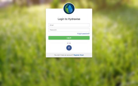 Screenshot of Login Page hydrawise.com - Hydrawise - Login - captured Dec. 15, 2015