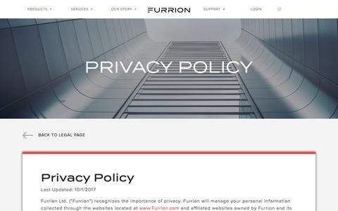 Screenshot of Privacy Page furrion.com - Privacy Policy - captured Sept. 3, 2018