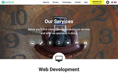Screenshot of Services Page pixelfind.net - Pixelfind Services | Responsive Web Design, E-commerce, PHP - captured July 18, 2018
