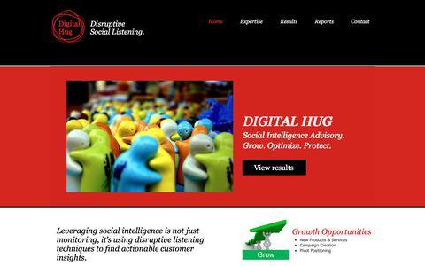 Screenshot of Home Page digitalhug.com - DigitalHug Social Insight Advisory - captured July 5, 2017