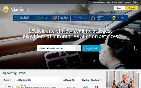 Screenshot of Home Page manheim.co.nz - Manheim Auctions - captured Sept. 13, 2018