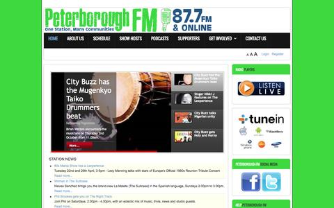 Screenshot of Home Page peterborough.fm - Home - captured Oct. 2, 2014