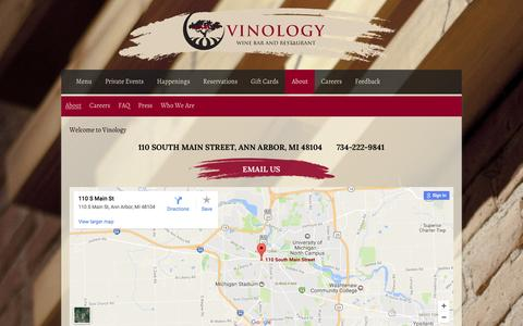 Screenshot of Contact Page vinologya2.com - About | Vinology Wine Bar and Restaurant - captured Dec. 21, 2016