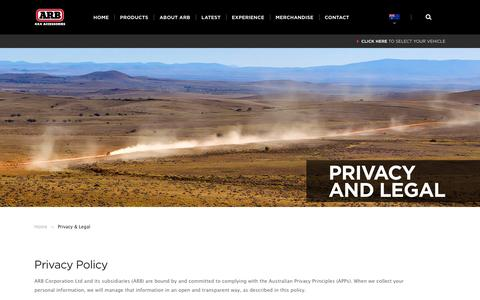 Screenshot of Privacy Page arb.com.au - ARB 4×4 Accessories | Privacy & Legal - ARB 4x4 Accessories - captured Jan. 19, 2016